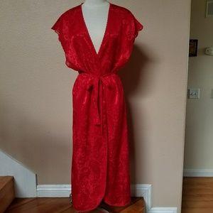 Vintage red satin short sleeve duster robe